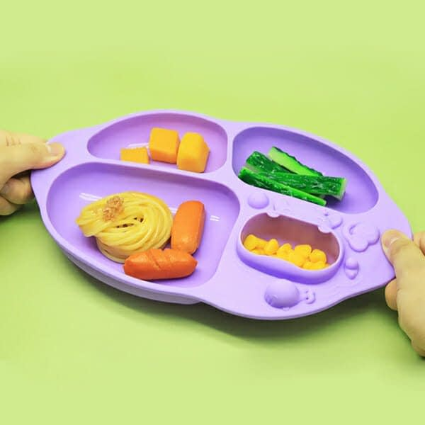 Marcus Marcus WILLO Purple Whale Yummy Dips Suction Divided Plate made up of BPA and phthalate-free food-grade silicone and are microwave safe and freezer safe.