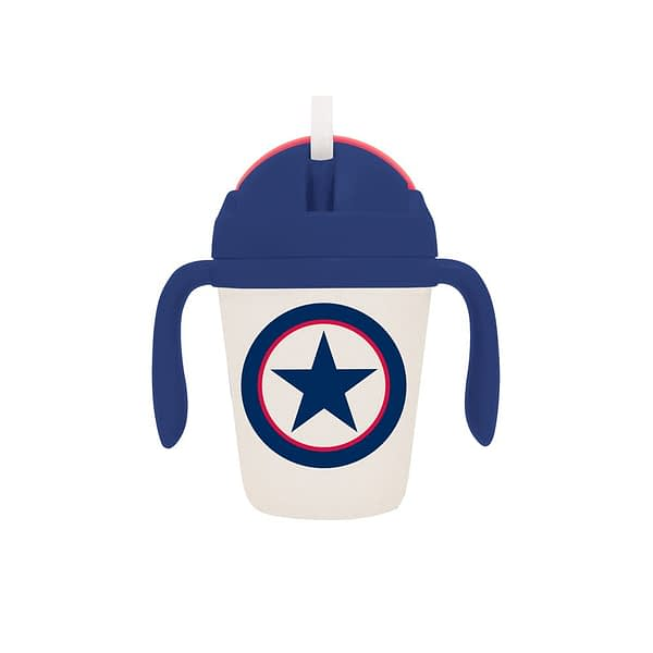 Penny Scallan Navy Star Bamboo Sippy Cup with reusable silicone straw.